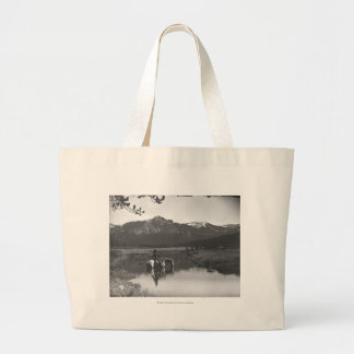Cowboy and horse in a pond jumbo tote bag