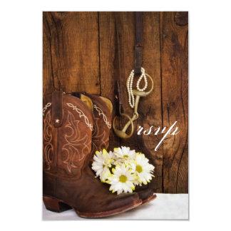 Cowboy Boots, Daisies, Horse Bit Wedding RSVP Card 9 Cm X 13 Cm Invitation Card