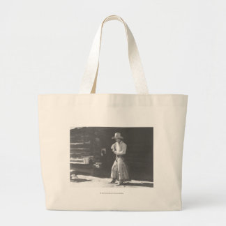 Cowboy eating from a Peter Pan peanutbutter can. Jumbo Tote Bag