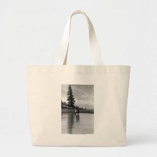 Cowboy in a pond jumbo tote bag