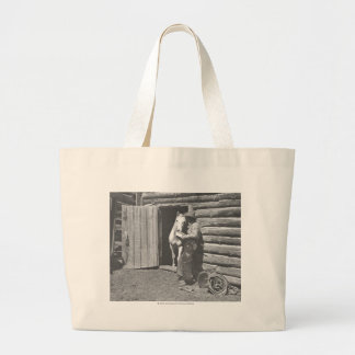 Cowboy reading a letter. jumbo tote bag