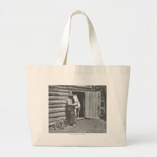 Cowboy reading a letter jumbo tote bag