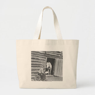 Cowboy reading a letter with a horse jumbo tote bag