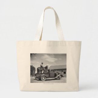 Cowboy with horse in a truck jumbo tote bag