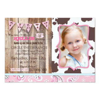 Cowgirl Pink Bandanna Western Theme Birthday 13 Cm X 18 Cm Invitation Card