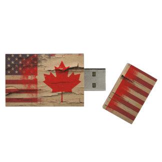 Crackle Paint | Canadian American Flag Wood USB 2.0 Flash Drive
