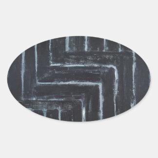 Cranked Stripes (Black minimalism) Oval Sticker