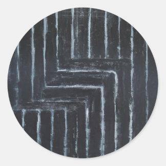 Cranked Stripes (Black minimalism) Round Sticker
