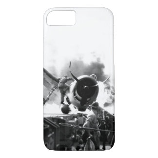 Crash landing of F6F on flight deck of_War Image iPhone 7 Case