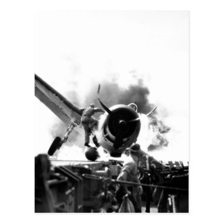 Crash landing of F6F on flight deck of_War Image Postcard