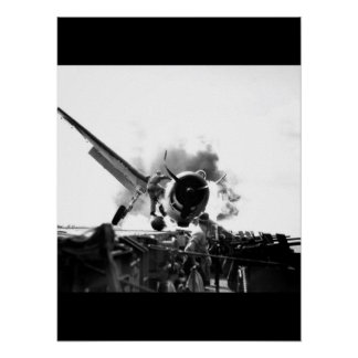 Crash landing of F6F on flight deck of_War Image Poster