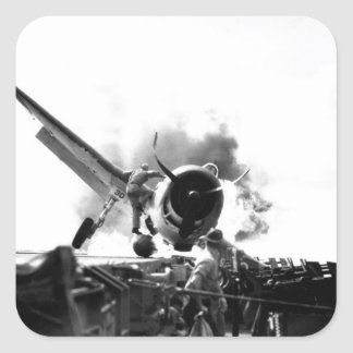 Crash landing of F6F on flight deck of_War Image Square Sticker