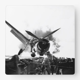 Crash landing of F6F on flight deck of_War Image Wall Clocks