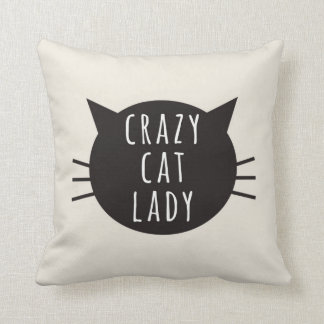 Crazy Cat Lady Funny Pillow Ivory Cushion