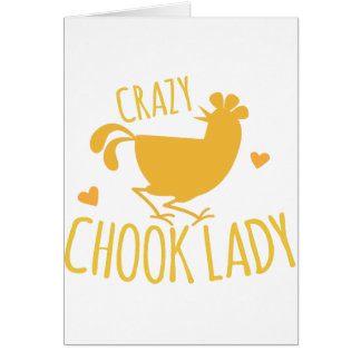 crazy chook lady greeting card