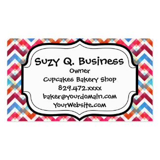 Crazy Colorful Chevron Stripes Zig Zags Pink Blue Pack Of Standard Business Cards