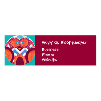 Crazy Owl Colorful Chevron Purple Orange Pink Blue Pack Of Skinny Business Cards