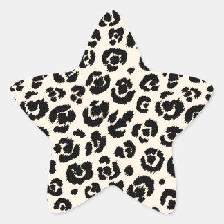 Cream Black Leopard Print Star Sticker