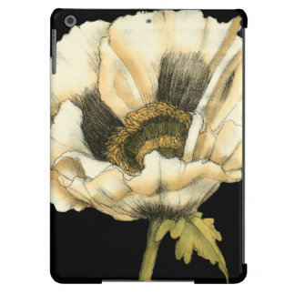 Cream Poppy Flower on Black Background Case For iPad Air