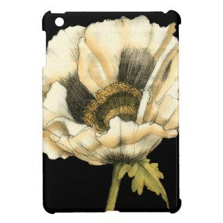 Cream Poppy Flower on Black Background Case For The iPad Mini