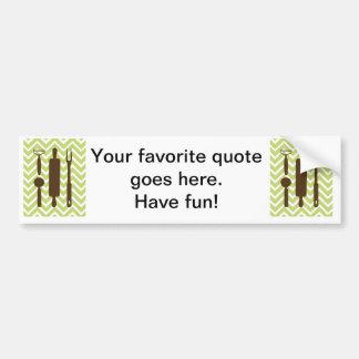 Creative Kitchens - Rolling pin on chevron. Bumper Sticker