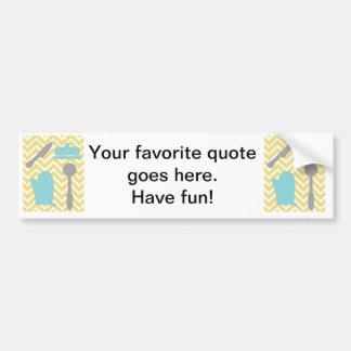 Creative Kitchens - Utensils on chevron. Bumper Sticker