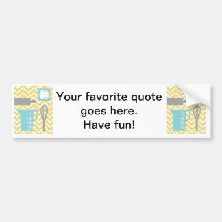 Creative Kitchens - Utensils on chevron Bumper Sticker