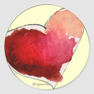 Crimson Love Hearts Envelope Seals Round Sticker