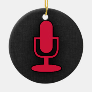 Crimson Red Microphone Round Ceramic Decoration