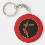 Cross and Flame Basic Round Button Key Ring