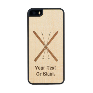 Cross-Country Skis And Poles Wood iPhone SE/5/5s Case