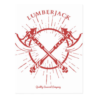 Crossed Axes Lumberjack Graphic Tee Postcard