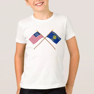 Crossed US 33-star and Oregon State Flags Tees