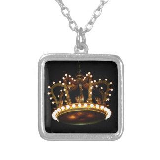 Crown Square Pendant Necklace