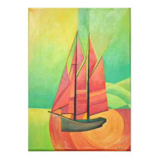 Cubist Abstract Sailing Boat 13 Cm X 18 Cm Invitation Card