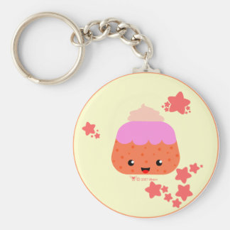 Cup Cake Basic Round Button Key Ring
