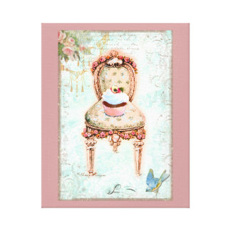 Cupcake and Victorian Chair Stretched Canvas Prints