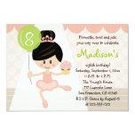 Cupcake Ballerina Birthday Asian Dark Hair 13 Cm X 18 Cm Invitation Card