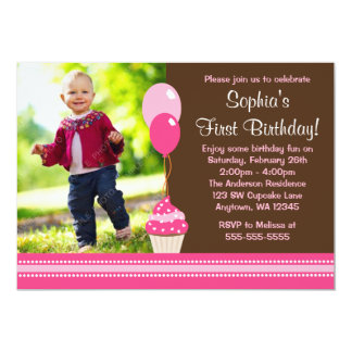 Cupcake Balloons Brown Pink Photo Birthday 13 Cm X 18 Cm Invitation Card