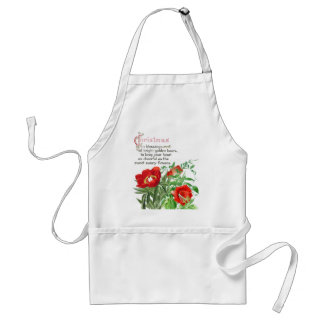 Cups Saucers Peony Flowers Floral Christmas Apron