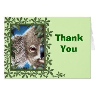 Curios Koala Green Leaf Design Thank You Note Card