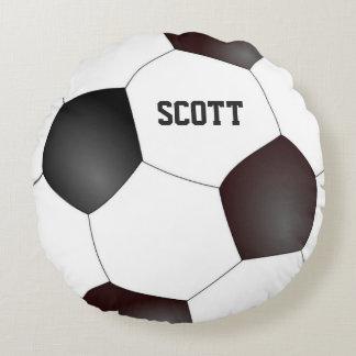 Custom Black and White Soccer Ball Pillow Round Cushion
