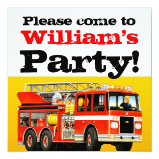 Custom Boy's 2nd Birthday Fire Truck Party 13 Cm X 13 Cm Square Invitation Card