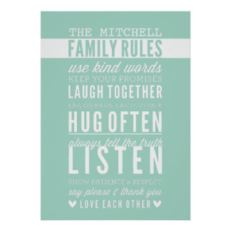 CUSTOM FAMILY RULES modern typography mint green Poster