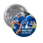 Custom Football Photo Name and Number 3 Cm Round Badge