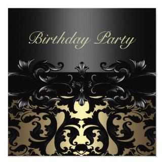 Custom Gold/Black Damask Birthday Invitation