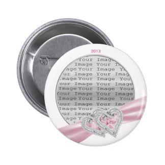 Custom Hearts Pastel Pink Ribbon Button