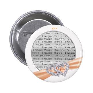 Custom Hearts Tangerine Ribbon Button