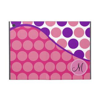 Custom Monogram Initial Pink Purple Polka Dots iPad Mini Cover
