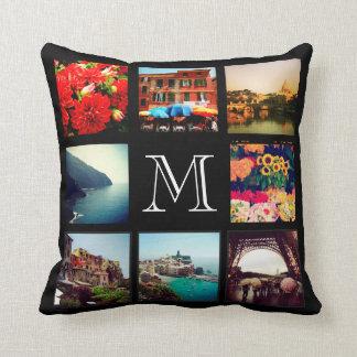 Custom Monogram Instagram Photo Collage Cushions